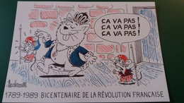 CPSM ILLUSTRATEUR BARBEROUSSE 1789 1989 BICENTENAIRE DE LA REVOLUTION FRANCAISE CHAT ROI CA VA PAS SIGNEE  DESSINATEUR - Barberousse
