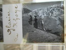 SUISSE VALAIS - GLACIER Du RHÖNE - Belle Plaque De Verre Stéréoscopique Positive 45 X 107 - Animée -  TBE - Fotos Estereoscópicas