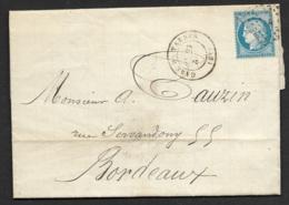 Hautes Pyrénées-Lettre (de Tuzaguet) Avec Cachet Gare De Tarbes-Pour Bordeaux-Au Dos Convoyeur Station Tarbes - Postmark Collection (Covers)