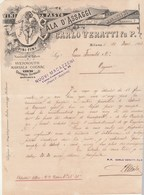 Italie Facture Lettre Illustrée 10/3/1893 Carlo VERATTI Vini Da Pasto Marsala Cognac Champagne Bourgogne Bordeaux MILANO - Italie