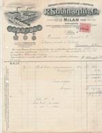 Italie Facture Illustrée 23/9/1919 SUBINAGHI Huiles Essentielles Essences Parfums MILANO Timbre Fiscal - Italie