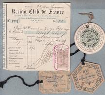 75- RACING- CLUB DE FRANCE Bois De Boulogne- Membre Actif,macarons 1901-1902-1909- Reçu Cotisations 1907. - Athlétisme