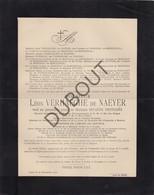 Doodsbrief Léon Verhaeghe De Naeyer °1839 Gent †1906 Grez-Doiceau Diplomaat/Gouverneur/Minister (L97) - Obituary Notices