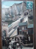 Dpt 76 Le Treport La Terrasse - Le Funiculaire No196 Ed LL Animee 1908 EVT TBE Colorisee - Le Treport