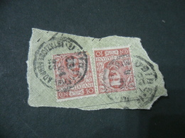 Francobollo Coppia  Centesimi 10 Floreale  Su Frammento - 1900-44 Victor Emmanuel III