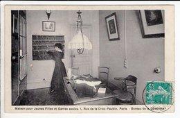 Cpa Maison Pour Jeunes Filles Et Dames Seules  Rue De La Croix Faubin Paris Bureau De La Directrice 1912 - Santé, Hôpitaux