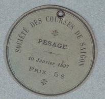 Courses Hippiques SAIGON - SOCIÉTÉ DES COURSES DE SAIGON - Carton D'entré Au PESAGE 10 Janvier 1897 - Equitation