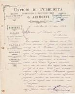 Italie  Lettre Illustrée 14/5/1884 G AZIMONTI Ufficio Di Pubblicita  MILANO - Italie