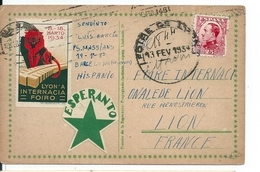 Espagne / Carte Esperanto  / Foire Internationale De Lyon , 1934 - 1931-50 Lettres
