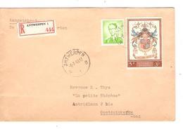 PR6240/ TP 1068 Baudouin Lunettes - 1107 Surtaxe S/L.Recommandée C.Antwerpen 1959 V.Oostduinkerke-Bad - Covers & Documents