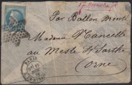 """Ballon Monté """"Le Général Uhrich"""" Oblitéré 17/NOV./1870 Pour Mesle-sur-Sarthe - 1863-1870 Napoléon III Lauré"""