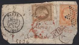 Fragment Ballon Monté Pour L'Amérique Probable PARIS 20/JANV./1871 - 1863-1870 Napoléon III Lauré