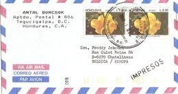 Honduras 1992 - Lettre PA De Tegucigalpa à Chatelineau, Belgique - 2 X Pa 780 - Honduras