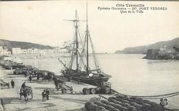 CPA 66 Pyrénées Orientales Port Vendres Quai De La Ville Bateau Attelage Tonneaux Côte Vermeille 1921 - Port Vendres