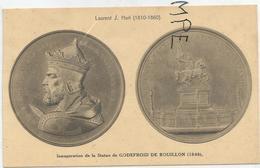 CPA Représentant Des Médailles: Statue De Godefroid De Bouillon Par J. Hart - Monnaies (représentations)