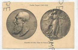 CPA Représentant Des Médailles: Léopold II Et Scientia Par C. Samuel - Monnaies (représentations)