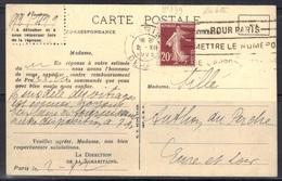 Semeuse N°139/IV De Roulette Sur Carte De La Samaritaine, état Voir Scan. - Marcophilie (Lettres)