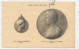 CPA Représentant Des Médailles: La Reine Elisabeth Et La Comtesse De Flandre Par C. Samuel - Monnaies (représentations)