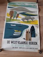 OUDE AFFICHE 1950-1965, BEZOEKT DE WESTVLAAMSE BERGEN EN KUST, (+/- 33x50cm)), - Affiches