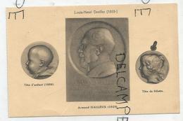 CPA Représentant Des Médailles: A. Halleux Et Têtes D'enfant Et De Fillette Par L-H Devillez - Monnaies (représentations)