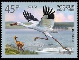 RUSSIA 2019 Stamp MNH ** VF EUROPA CEPT Sterkh Grus Leucogeran WHITE CRANE Siberia GRUE KRANICH BIRD VOGEL OISEAU 2436 - Ungebraucht