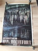 OUDE AFFICHE 1950-1965, LES GROTTES DE HAN ET ROCHEFORT (+/- 47x32cm)), - Affiches