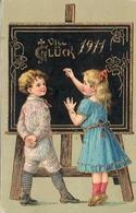 11 - Année Date Millesime - 1911 - 2 Enfants Au Tableau, Doré - Nouvel An