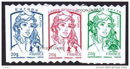France Roulette - Autoadhésif N°  862 + 863 + 864 ** Marianne De Ciappa Et Kawena Les 20 Grammes Verte; Rouge & Bleu - Rollen