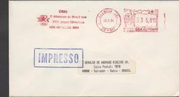 3368   Carta  Impreso Rio De Janeiro, 1984,  Juegos Olímpicos  Los Angeles 1984, Atletismo De Brasil, CBAT - Brasilien