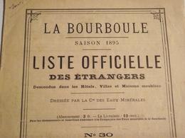 La BOURBOULE, Liste Officielle Des Étrangers, Logeant Dans Les Hotels ....1895 - Vieux Papiers