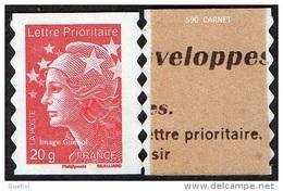Autoadhésif(s) De France N°  590.a ** Au Modèle 4566 - Marianne De Beaujard Le 20 Grammes,rouge De Carnet - France