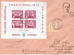 España, 2 Cartas Circuladas Desde Sevilla A Gibraltar Por Correo Certificado Con Hojas Bloques De Falange - 1931-50 Lettres