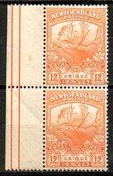 TERRE NEUVE - (Colonie Britannique) - 1919 - Paire Du N° 108 - 12 C. Orange - Great Britain (former Colonies & Protectorates)