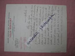 Lettre Manuscrite D' Henry Lemaitre Pilote Légendaire Sur Papier Ateliers D'Aviation LOUIS BREGUET 1925 - 1900 – 1949