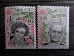 MONACO 1980 Y&T N° 1224 & 1225 ** - EUROPA, PERSONNAGES CELEBRES - Ongebruikt