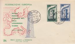 Enveloppe FDC  1er   Jour    ITALIE    Paire  EUROPA      1956 - 1956