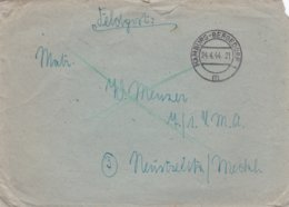 German Feldpost WW2: To 7./. LMA In Neustrelitz/Meckl. P/m Hamburg-Bergedorf 24.4.1944 - Cover Only  (G99-8) - Militaria