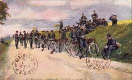MILITARIA PATRIOTIQUE  En Guerre- Chasseurs Cyclistes- La Halte - Carte D' Illustrateur - Patriotiques