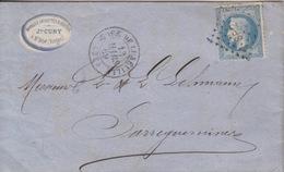 Lettre Obl. Gare De Lunéville (Dateur T15) Du 13 Mars 69 Pour Sarreguemines,  Losange SP 2° Sur 20c Bleu (N° 29) - Marcophilie (Lettres)