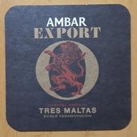 POSAVASOS CERVEZA AMBAR EXPORT TRES MALTAS. - Beer Mats