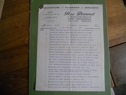 FACTURE 3 PAGES RENE DIONNET COUVERTURE PLOMBERIE ZINGUERIE 3 AVENUE FRANKLIN ROOSEVELT AVON FONTAINEBLEAU EXC ETAT - 1950 - ...