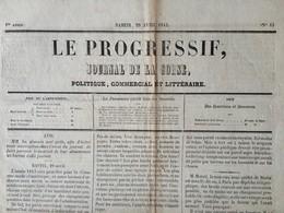 Le Progressif , Journal De La Corse , Politique , Commercial Et Littéraire . 29 Avril 1843 . Bastia . - Journaux - Quotidiens