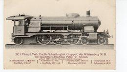 LES LOCOMOTIVES  (Allemagne) Machine N°2001 Pacific Schnellzuglok Gruppe C Der Würtemberg St B. - Trains