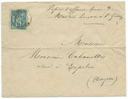 ENVELOPPE AVEC SAGE 5c / ST GENIEZ AVEYRON POUR ESPALION / 1881 - Marcofilia (sobres)