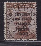 = ITALIE YT120 OBLITERE CONGRES PHILATELIQUE TRIESTE 1922   COTE YT 225E - 1900-44 Vittorio Emanuele III
