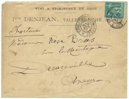 ENVELOPPE AVEC SAGE 5c / VILLEFRANCHE AVEYRON / AVEYRON POUR DECAZEVILLE 1893 / VINS / TOULOUSE A LIMOGES 2° - Marcofilia (sobres)