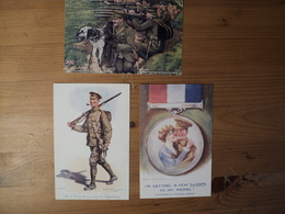 WW1. LOT DE 3 CPA ANGLAISES CHIEN GARDIEN DES TRANCHEES ANGLAISES / PROPAGANDES. IT S A LONG WAY TO TIPPERARY / I M GET - Guerre 1914-18