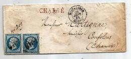 - ALGERIE - MOSTAGANEM GC.5048 S/paire N°22 - CHARGE - Càd Type 15 - 1865 - 1862 Napoléon III