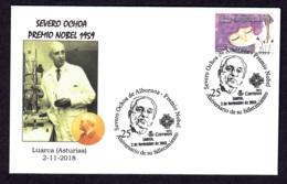 4.- SPAIN 2018 SPECIAL POSTMARK NOBEL PRIZE OF MEDICINE 1959 SERVERO OCHOA- LUARCA ASTURIAS - Prix Nobel