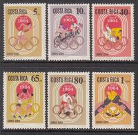1968 Costa Rica Tokyo Olympics Complete Set Of 6 Basketball Football MNH - Costa Rica